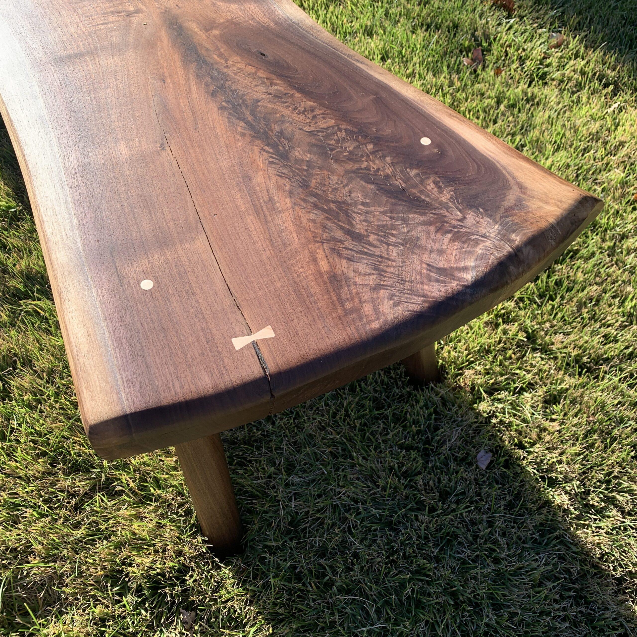 waterfall bench, walnut bench, live edge bench, spugnardi furniture, custom furniture, butterfly key